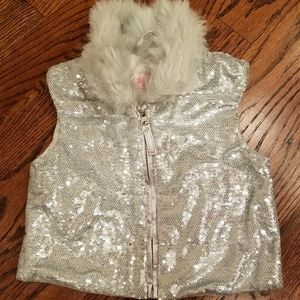 Sequin Vest with Faux Fur Collar - New